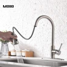 купить MOIIO Kitchen Faucets with Pull Down Sprayer Stainless Steel Brushed Nickel, Hot & Cold Water Kitchen Sink Faucet with Nozzle по цене 2537.63 рублей