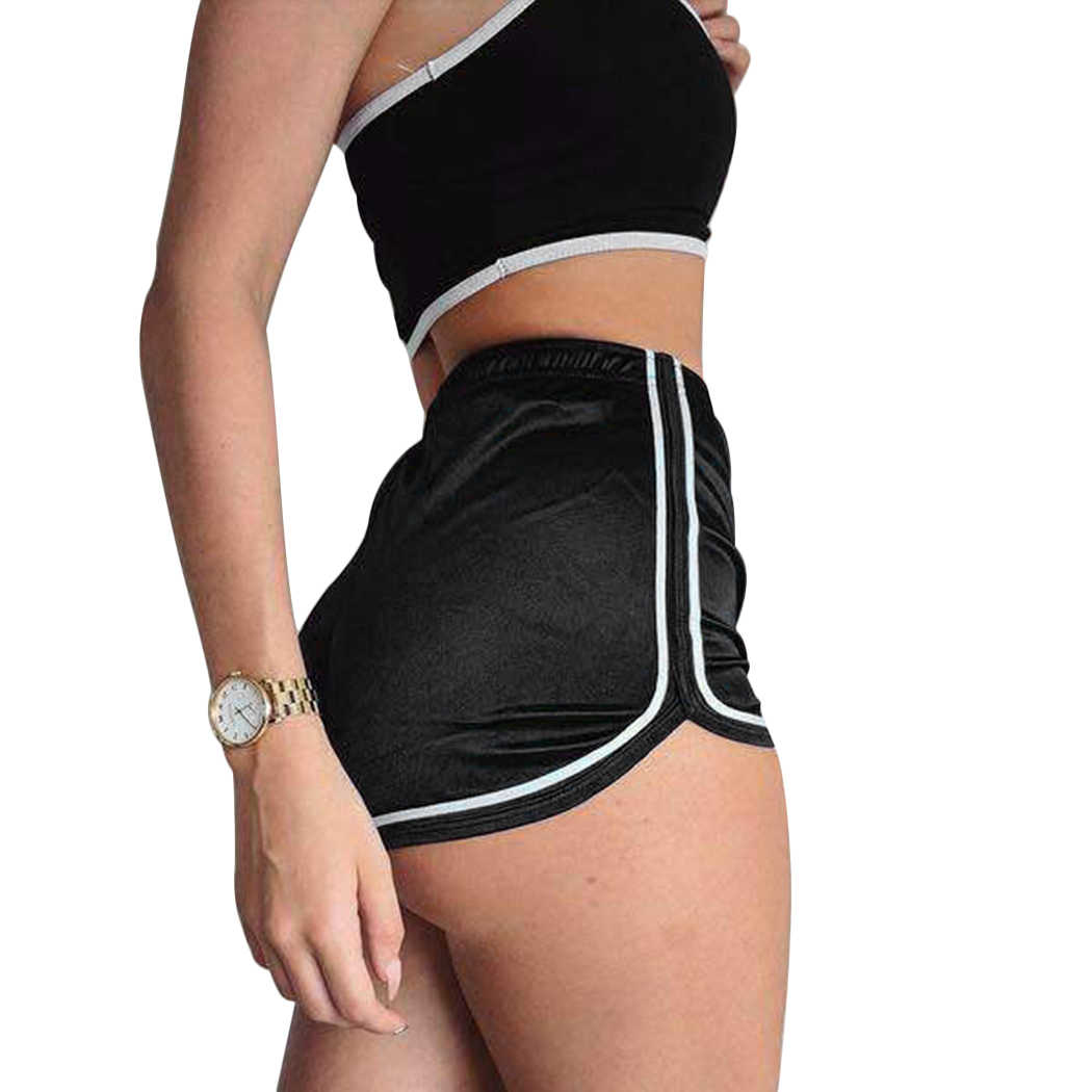 Women Shorts Casual Fitness Silk Slim Mini Shorts Spring Summer Ladies Elastic High Waist Workout Short Sportwear Beach