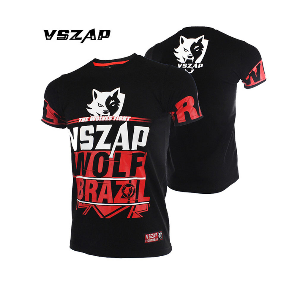 Vszap MMA Shirt Boxing Figthing Men Gloves T Shirt Muay Thay Fight Short Sleeves