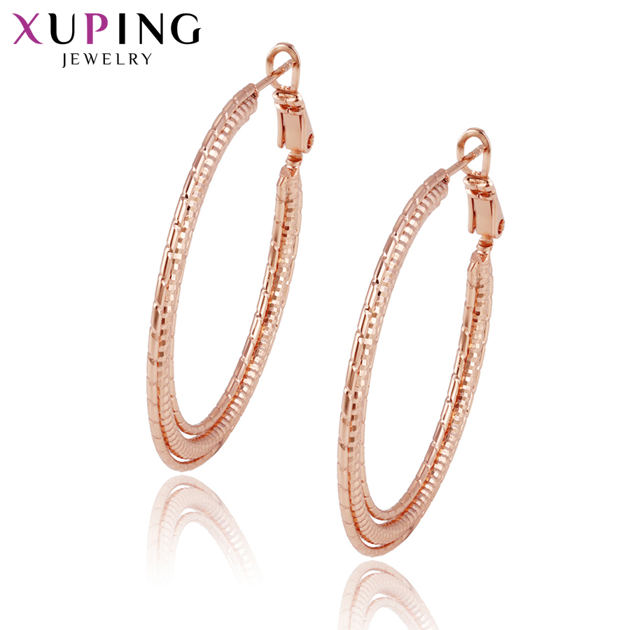 11.11 Deals Xuping Fashion Earrings Hoops Rose Gold Color Plated for Women Black Friday Jewelry Gifts S83,2-95434