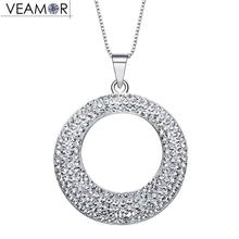 Veamor Circle Pendant Necklaces For Women Collar Pave Round Necklace Real 925 Sterling Silver Jewelry Crystals from Swarovski(China)