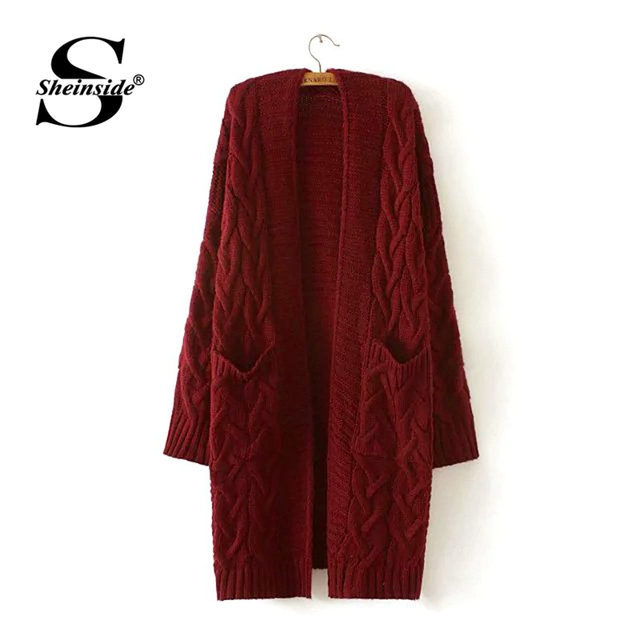 da6026a4eb Sheinside Burgundy Solid Drop Shoulder Cable Knitted Coat Women Sweater  Cardigan 2018 Long Sleeve Casual Female Long Cardigans