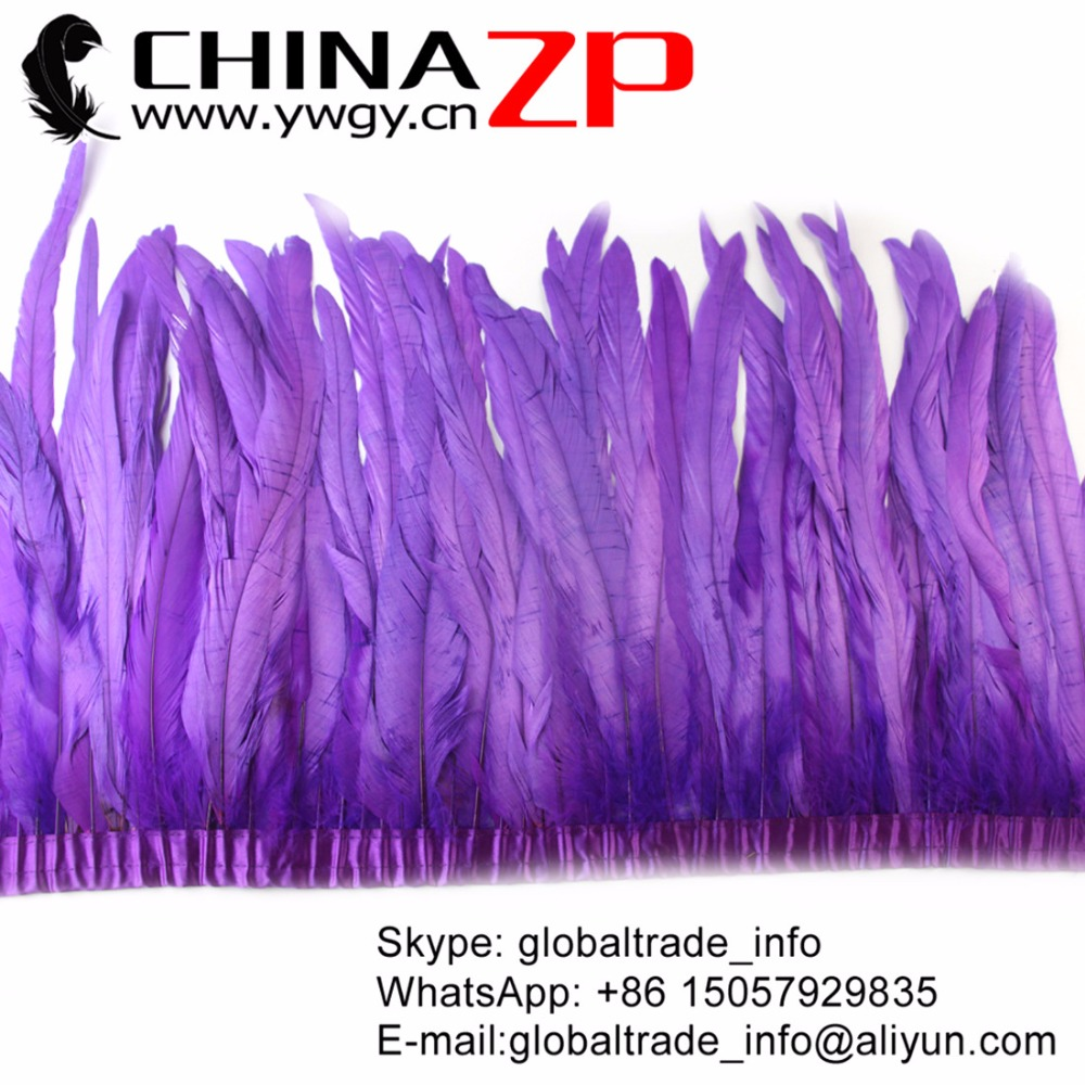 CHINAZP Carnvial Feather Supplier 30~35cm(12~14inch) eco frindely Dyeing Purple Rooster Tail Feathers Trim for Showgirl Customes