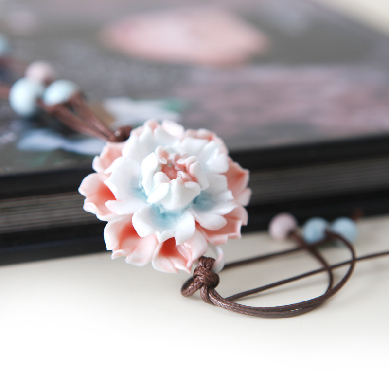 Chinese Ethnic Jewelry Traditional Handmade Ornaments Weave Rope Necklace Choker Manual Ceramics Flower Beads Tassel Pendants
