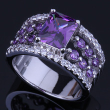 Shining Rectangle Purple Cubic Zirconia White CZ 925 Sterling Silver Ring For Women V0456