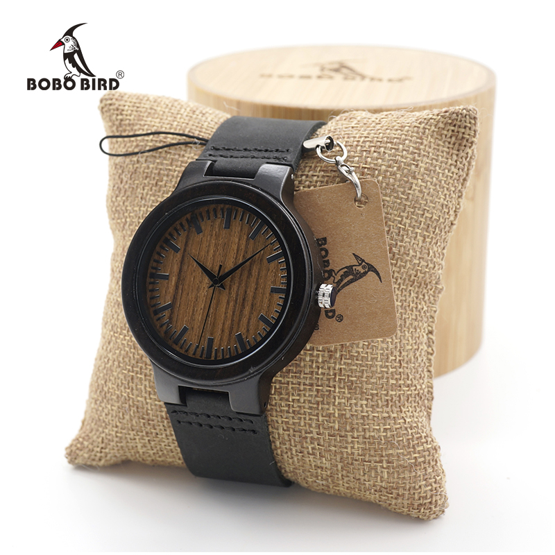 BOBO BIRD Men's Ebony Wood Design Watches Genuine Leather Quartz Watch for Men Brand Luxury Wooden Bamboo Wrist Watch bobo bird l b08 bamboo wooden watches for men women casual wood dial face 2035 quartz watch silicone strap extra band as gift