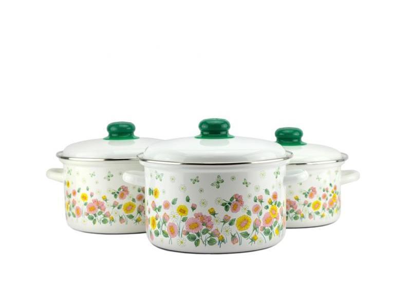 A Set Of pans Enamel Flower box, 6 items set of 6 pieces cotton box set of 6 pieces