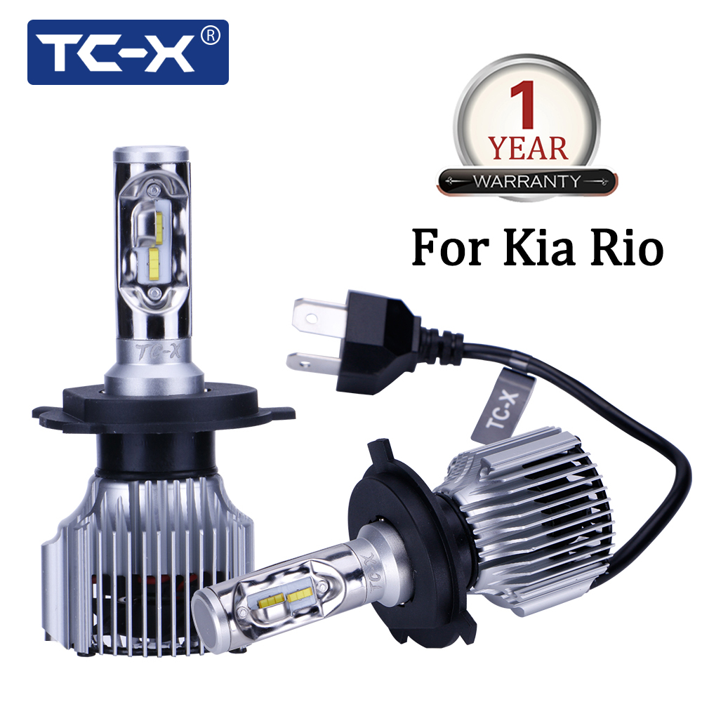 TC-X For Kia Rio car model H4 LED Long/Near Distance Compact Car Headlight 6000K 60W/Pair Super Bright 6000LM Auto Headlamps