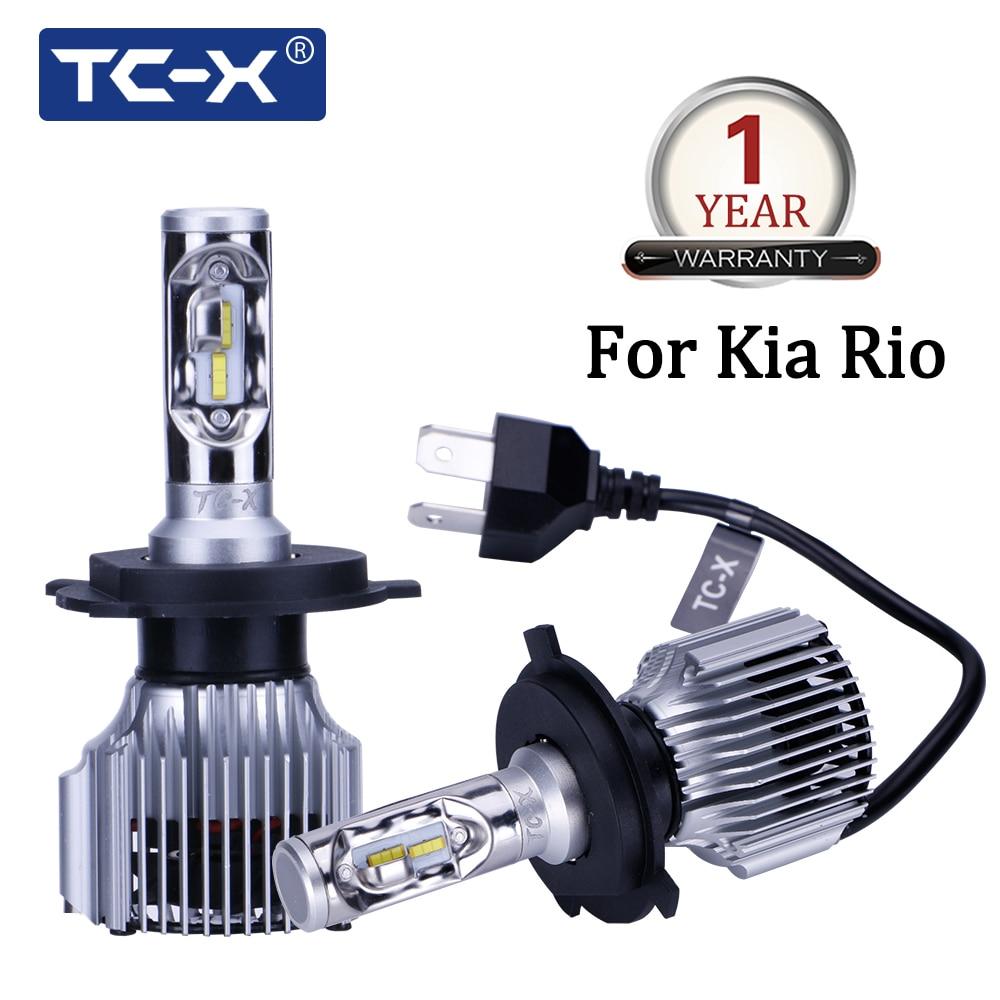 TC-X para KIA Rio coche modelo H4 LED de larga distancia/cerca compacto linterna del coche 6000 K 60 w/pair Super brillante 6000lm auto Faros
