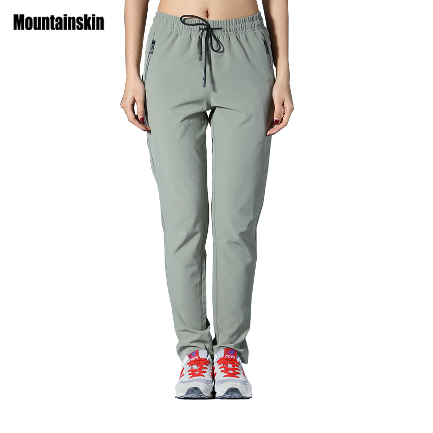 3a73ab21993 Mountainskin Women s Summer Quick Dry Pants Outdoor Elastic Hiking Camping  Trekking Fishing Climbing Sport Female Trousers VB048