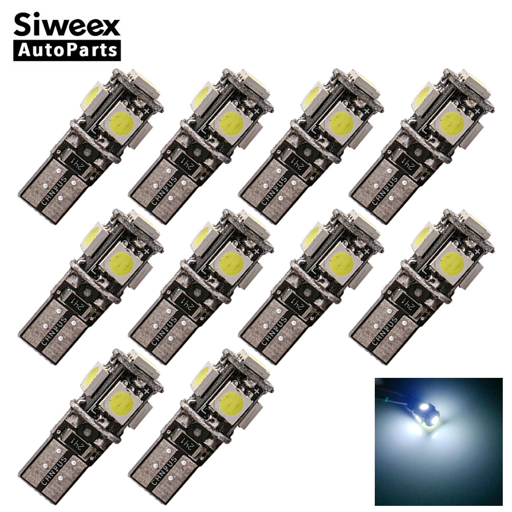 10 Pcs W5W 147 Car LED Bulbs T10 5050 5 SMD Trunk Reading Clearance Lamp Canbus Error Free Interior Lights 12V White 14pcs error free white canbus car led light bulbs interior package kit for 2002 2007 volvo v70 estate xc70 map dome trunk lamp
