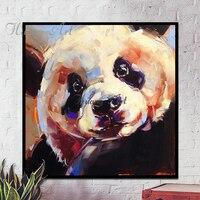 Ręcznie malowane obrazy olejne Chiński narodowy skarby panda obrazy nowoczesne proste salon wejście dekoracji malowanie