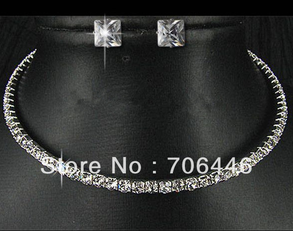 Silver Plated Clear Rhinestone Single Row Diamante Choker Necklace and Stud Earrings Jewelry Set