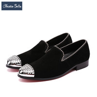 Christia Bella British Style Suede Men Shoes With Silver Rivets Fashion Party Banquet Men Dress Loafers
