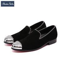Christia Bella/мужские замшевые туфли в британском стиле с серебристыми заклепками, вечерние и банкетные Мужские модельные лоферы, слипоны, тапоч