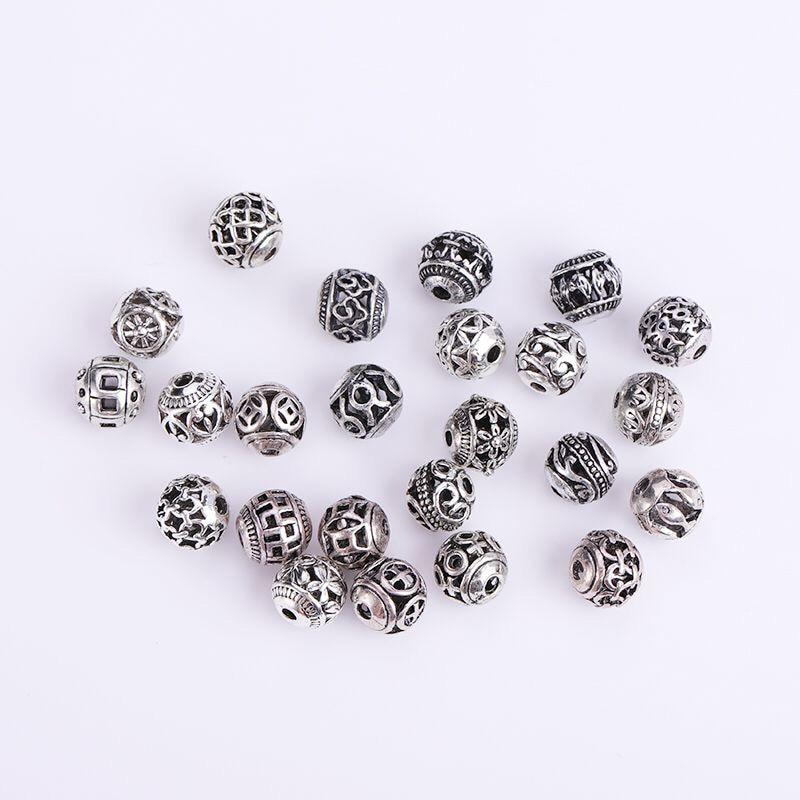 10/30 pièces Multi Designs 8mm tibétain argent rond perles en métal évider artisanat prière entretoise perles ajustement bijoux à bricoler soi-même Bracelets