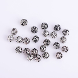 Image 1 - 10/30pcs Multi Designs 8mm Tibetan Silver Round Metal Beads Hollow Out Handcraft Prayer Spacer Beads Fit DIY Jewelry Bracelets
