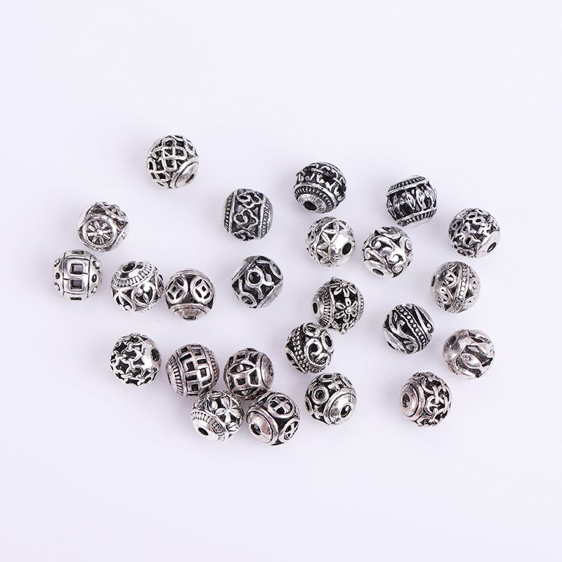 10/30pcs Multi Designs 8mm Tibetan Silver Round Metal Beads Hollow Out Handcraft Prayer Spacer Beads Fit DIY Jewelry Bracelets(China)