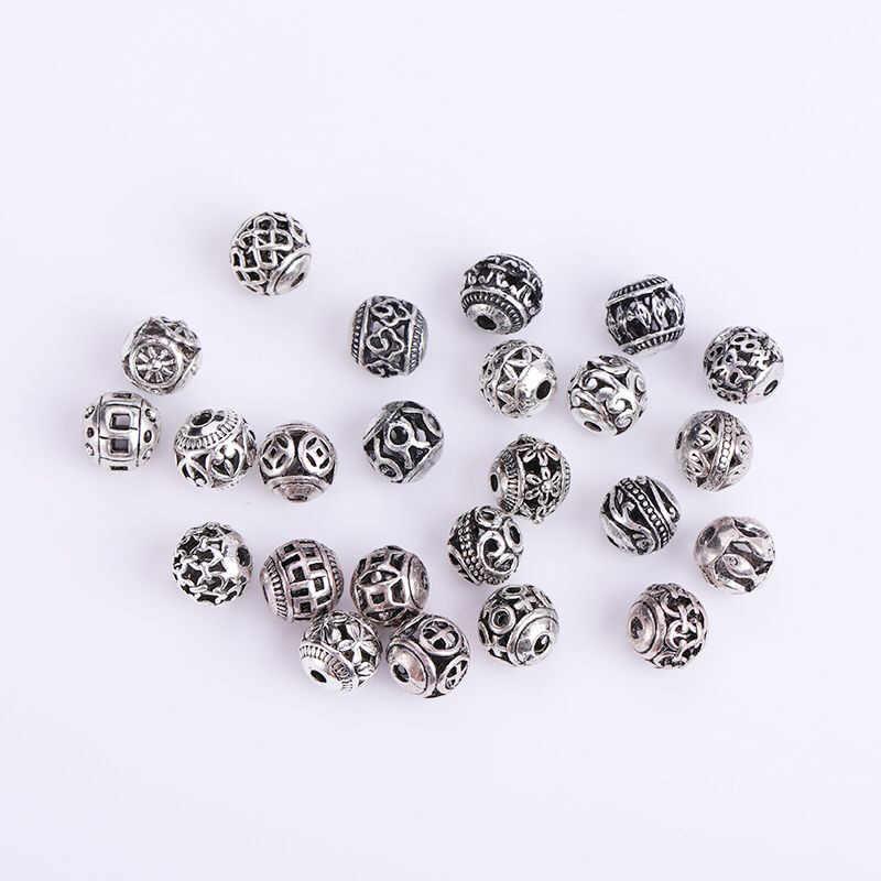 Miçangas espaçadoras de oração artesanal, miçangas multidesenhos de 8mm tibetano prata redonda, 10/30 peças pulseira de joias diy