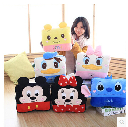 Plush 1pc cartoon Donald Duck Stitch Daisy office cushion + warm blanket stuffed toy creative romantic gift for baby gift fruit style watermelon pineapple grapes mcdull pig soft coral velvet baby blanket cushion hand warm stuffed toy gift 1pc