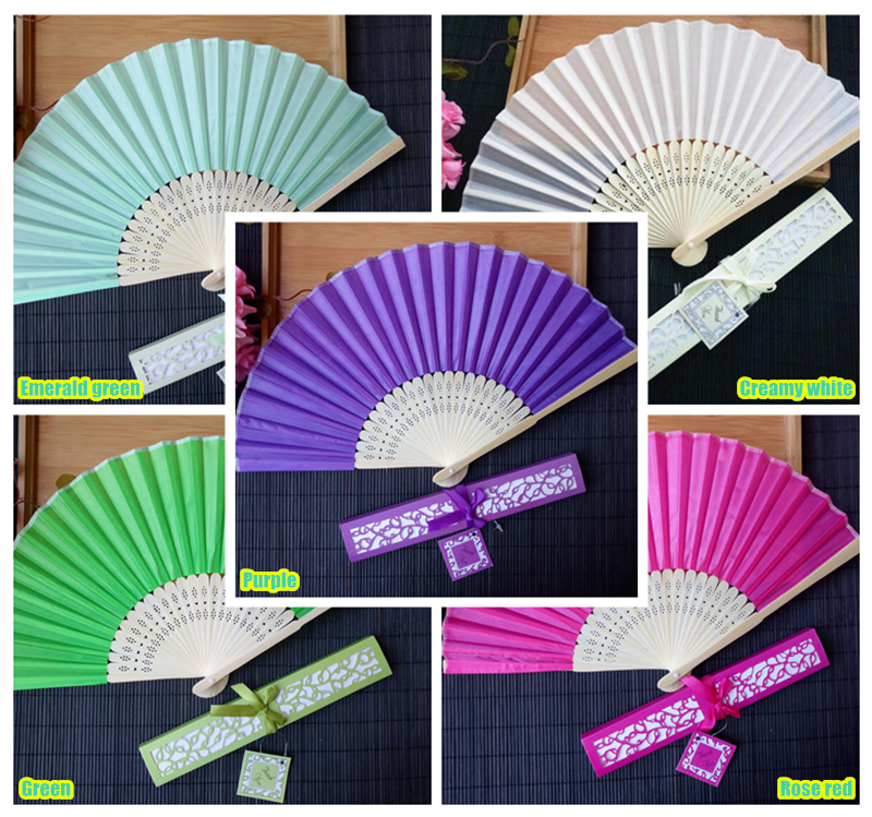 Personalized wedding gifts souvenir silk fan customized name or logo for guests favors