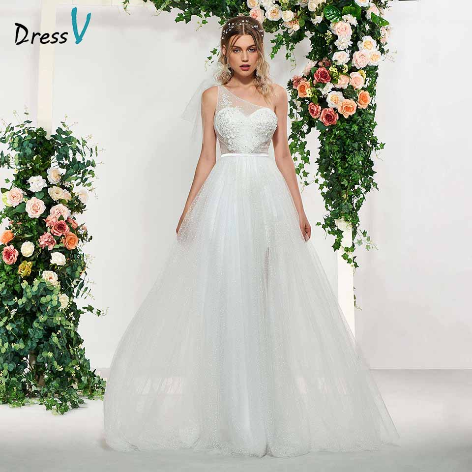 Dressv Elegant Ivory Sleeveless A Line Appliques Lace One