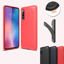 цена на For Xiaomi MI 9 9 SE Carbon Fiber Brushed Phone Case Fashion Soft Silicone TPU Back Cover For MI 9 9 SE Shockproof Phone Shell