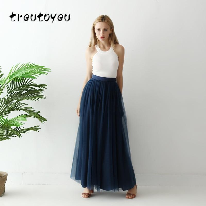 4fe9143d0 Faldas de tul Treutoyeu para mujer de cintura alta azul marino Maxi faldas  Vintage de malla de talla grande falda de tutú sólido para mujer Jupe ...