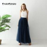Treutoyeu Tulle Skirts Womens High Waist Navy Blue Maxi Skirts Vintage Mesh Plus Size Solid Tutu Skirt Women Jupe Saias Faldas