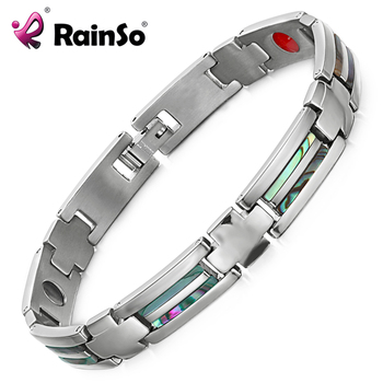 Rainso Health Titanium Bracelet lovers' Bio Energy Bangle Magnetic Health Care Bracelet for Women Men Jewelry
