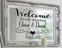 Custom Wedding Decal Personalized Bride And Groom Name,date,Welcome To The Wedding Sign Sticker Art Decor Gift Mirror Mural WE16 цена и фото