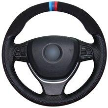 Hand sewing custom Black Leather Suede Car Steering Wheel Cover for  BMW F10 2014 520i 528i 2013 730Li 740Li 750Li