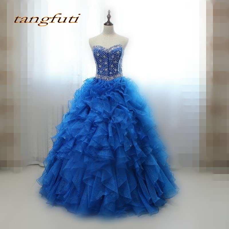 Royal Blue Quinceanera Dresses Sweet 16 Princess Organza Crystal Beaded Luxury Ball Gown Long Prom Dresses Gown for 15 Years