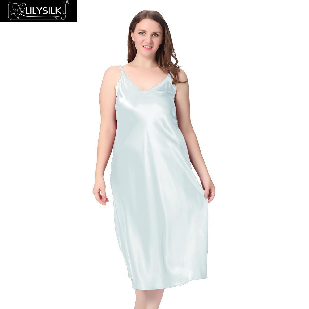 e1dea302a7c Lilysilk 100% Silk Nightgown Women Plus Size 5XL Big Solid 22 Momme V Neck  Sexy Night Dress Luxury Pure Bride Wedding Sleepwear