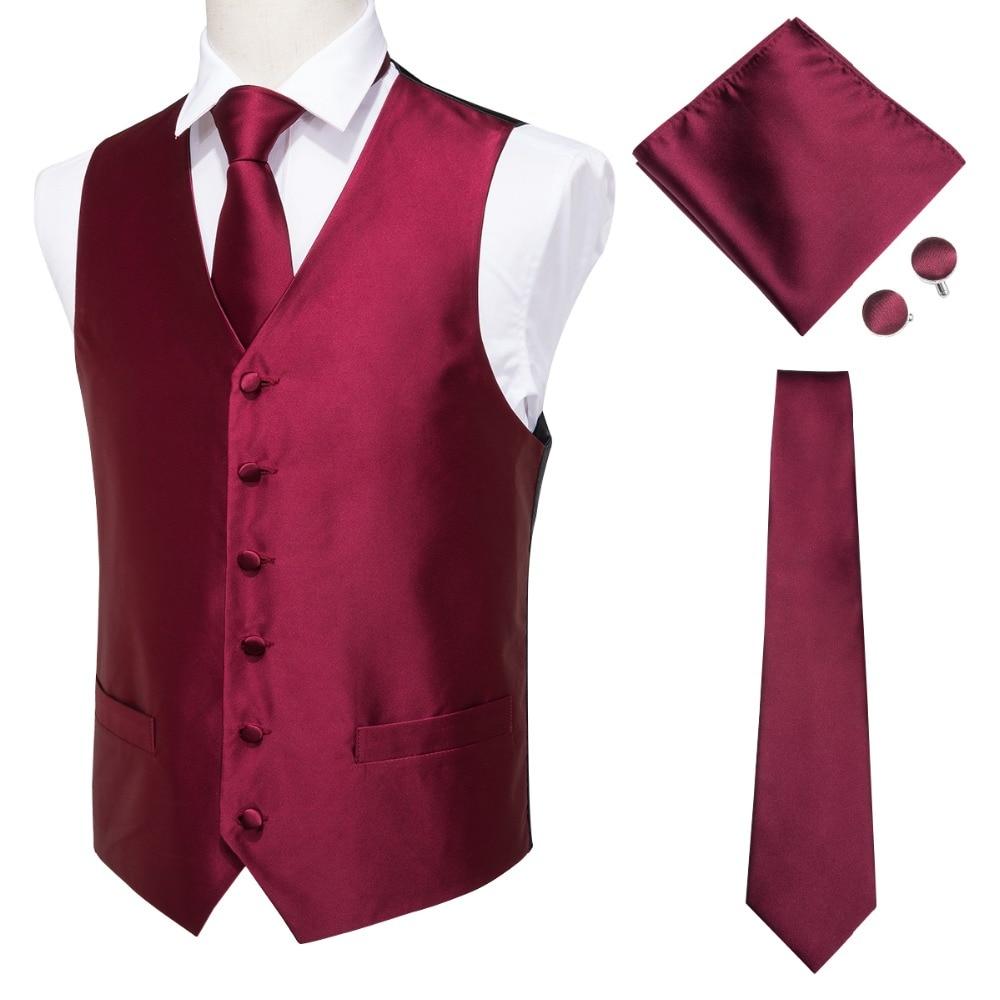 Hi-Tie Men's Classic Red Jacquard Silk Waistcoat Vest Handkerchief Cufflinks Party Wedding Solid Tie Vest Suit Set MJ-0004