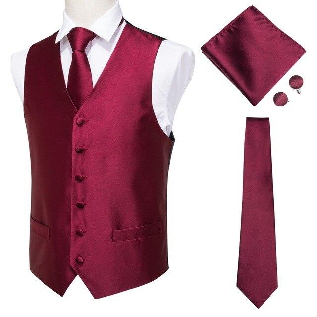 a89bd798e43e Hi-Tie Men's Classic Red Jacquard Silk Waistcoat Vest Handkerchief  Cufflinks Party Wedding Solid Tie Vest Suit Set MJ-0004