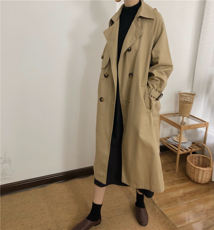 Spring And Autumn Women Fashion Brand Korea Style Waist Belt Loose Khaki Color Trench Female Casual Elegant Soft Long Coat Cloth 3