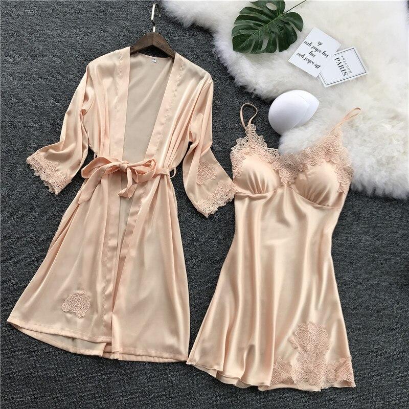 100% QualitäT Marke Weibliche Sexy Frauen Robe & Kleid Sets Frauen Silk Satin Bademantel + Mini Nacht Kleid Zwei Stück Set Nachtwäsche Braut Nachthemd