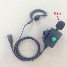 Big Mic PTT headphone earhook K plug 2pins for Kenwood Baofeng Wouxun Quansheng TYT Retevist