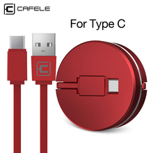 CAFELE Cute Candy color Retractable type-c usb cable for fast charging type c data cable For Huawei LG xiaomi ZUK Z1 retractable type c fast charging data cable 1m