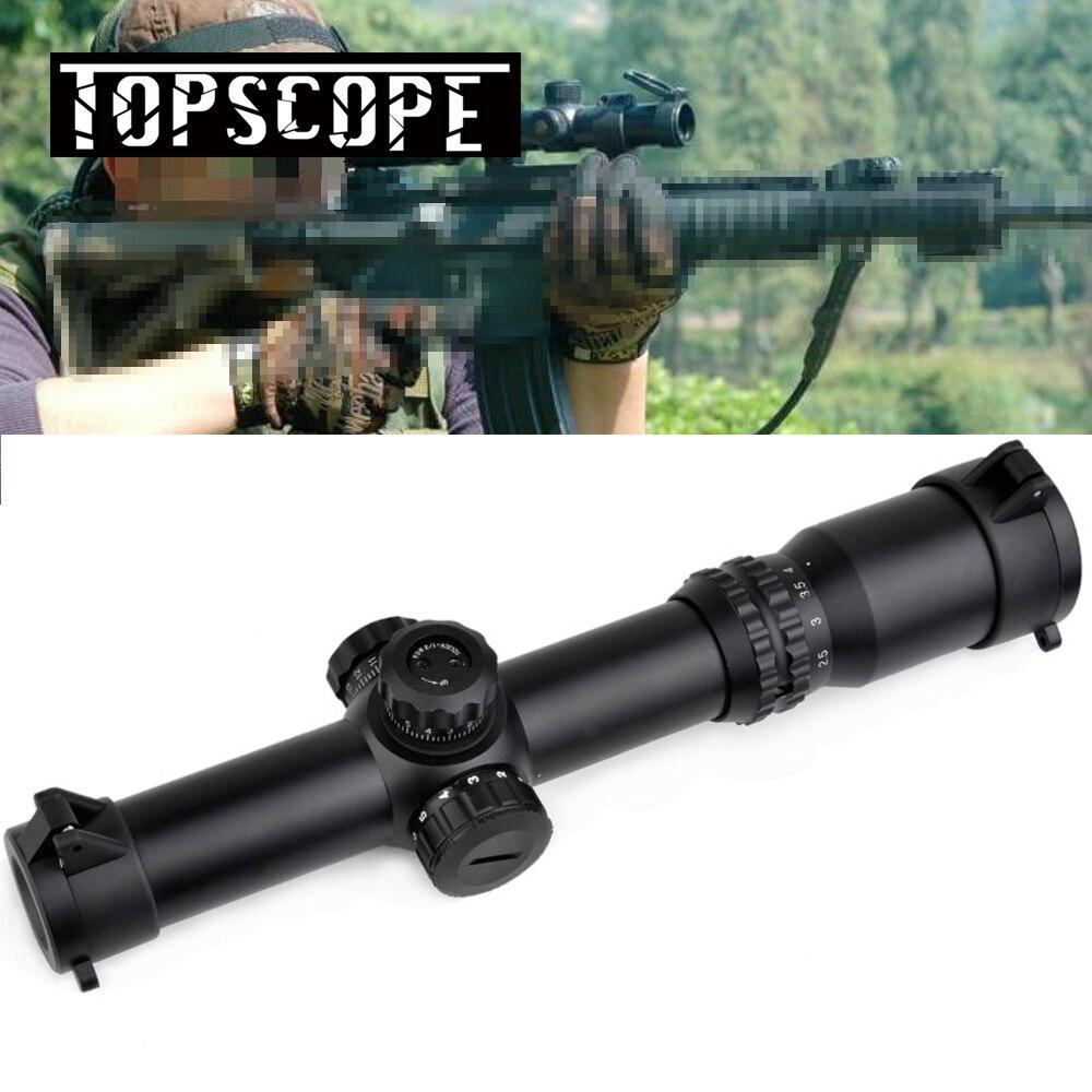 Chegada nova 1-4x24 OBJETIVO SE Iluminação Tactical Optics Longo Eye Relief Rifle Scope Red Green Retículo para a Caça de Tiro