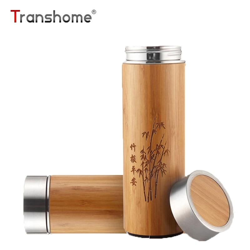 Transhome Kreative Bambus Thermos Flasche 360 ml Edelstahl Tumbler Vakuum Flaschen Isolierte Flaschen Kaffee Becher Für Reise Tee