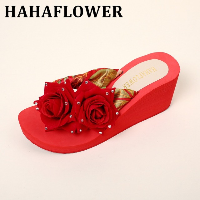 8d65f656a7d1bf HAHAFLOWER Wedges Rose Flower Black Female Summer Sandals Shoes Women  Non-Slip Soft Cool Ladies Fashion Holiday Seaside Shoes