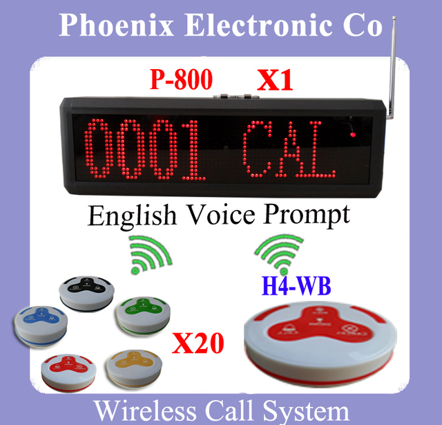 Sistema de Chamada sem fio, garçom Sistema de Paginação de Serviço utilizado Para Restaurante Café Bar, um Display P-800 e 20 Sinos de Chamada