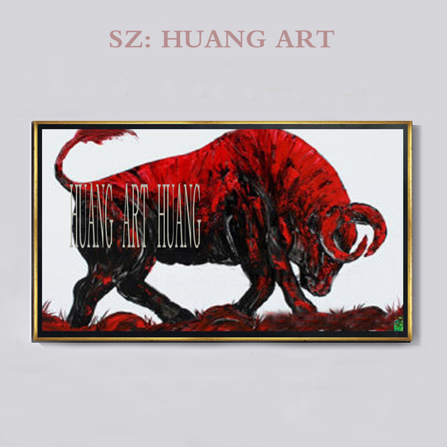 37e28136c Hand Painted Red Cow Oil Painting On Canvas Hand Bull Animal Oil Paintings  Wall Picutres Home