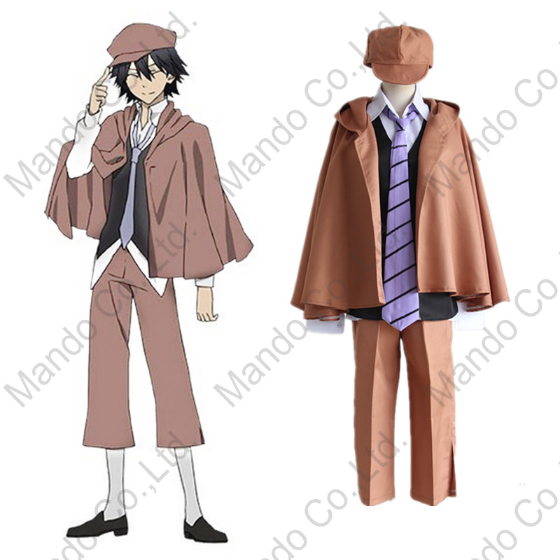 Anime Bungo Stray Dogs Super reasoning Edogawa Ranpo Cosplay Costumes mans uniform suit Halloween outfit 5pcs set
