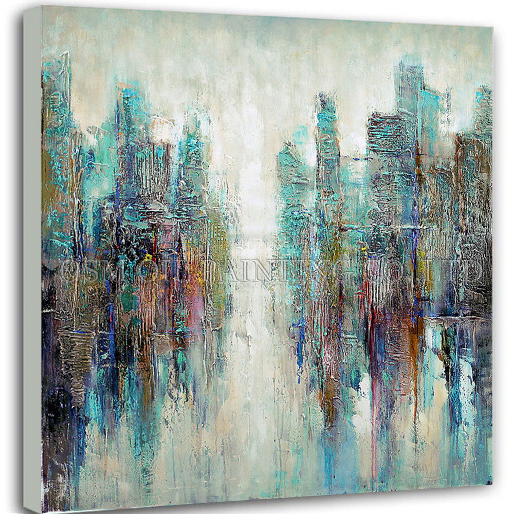 Master Artist Handmade High Quality Modern Abstract City Oil Painting on Canvas Colorful Turquoise Oil Painting for Living Room