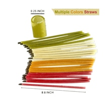 100% Natural Biodegradable Eco-Friendly Edible Rice Drinking Straws Mix Color-Pack of 12PCS/20PCS  Veggie