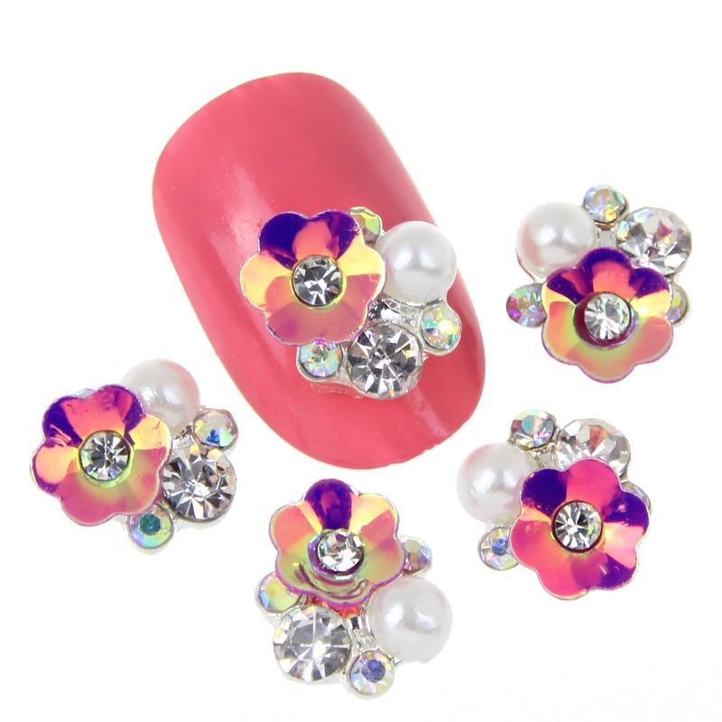 10pcs/lot NEW 3D Gem Stone Flowers Nail Charms Pearl Crystal Nail Art  Decorations Glitter Rhinestones Nails Supply MA0490 MA0498-in Rhinestones  ...