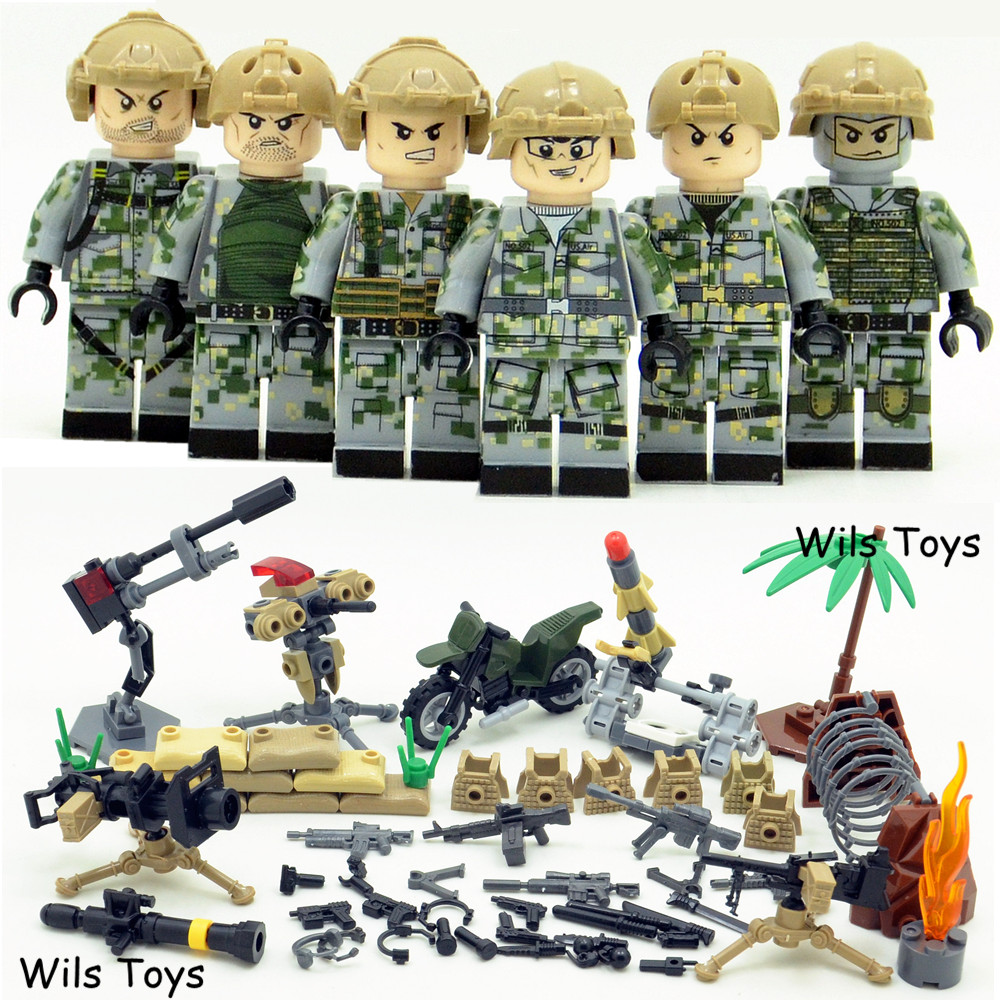 6pcs MILITARY Army Special Forces Soldiers War SWAT Navy Seals Team Weapons Building Blocks Figures Educational Toys Gifts Boys 6pcs swat special forces police the wraith assault cs with motorcycles weapons figures building blocks bricks toys for kids